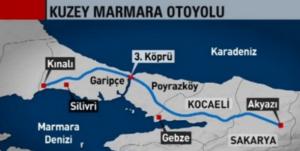 Kuzey Marmara Otoyolu Güzergahı Haritası, Giriş ve Çıkış Noktaları