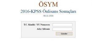 2016 Kpss Önlisans Sınav Sonuçları Açıklandı! Ösym Sonuç Sayfası